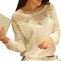 Blusas Femininas 2016 Spring Women Long Sleeve Fashion Lace Floral Patchwork Blouse Shirts Hollow Out Casual Tops Plus Size 6XL  #beauty #stylish #hair #cute #style #outfit #makeup #outfitoftheday #styles #purse #fashion #beautiful #jennifiers #model #jewelry