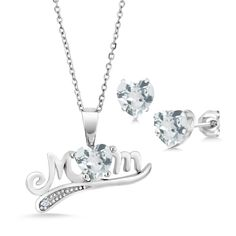 """925 Sterling Silver""""Mom"""" 1.26 Ct Heart Shape Aquamarine Pendant Earrings Set >>> Click image for more details. (As an Amazon Associate I earn from qualifying purchases)"""