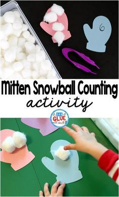 Mitten Snowball Counting Activity is a fun, hands-on way for students to review numbers and practice one to one correspondence. This fine motor center is perfect for preschool and kindergarten students.