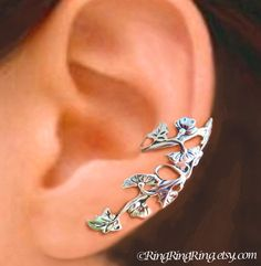Art Nouveau Stream flower and leaf ear cuff Gold by RingRingRing