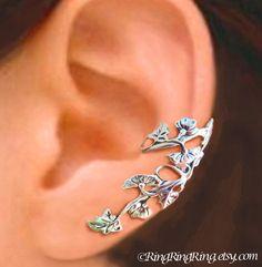 Art Nouveau Stream - Sterling Silver ear cuff earring, leaf and flower earcuff clip jewelry, Bridal earring, Left
