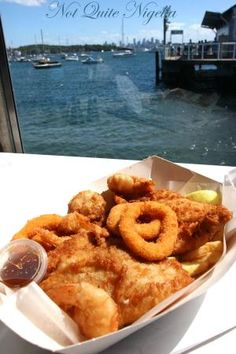 Fish and chips at Doyle's, Watson's Bay, I have been here and it's the best seafood and a beautiful place to be at