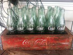 Coke Bottles and Coke Crate Voss Bottle, Bottles, Water Bottle, Vintage Coke, Coca Cola, Crates, Appreciation, Smile, Party