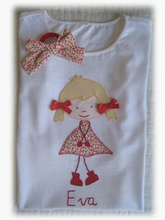 Camisetas personalizadas - lazos de tul Doll Painting, Fabric Painting, Lace Up T Shirt, Baby Washcloth, Sewing Art, Embroidery Fashion, Patch Quilt, Cute Tshirts, Baby Sweaters