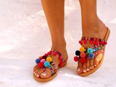 Sandalias cuero Goa Pom Pom coloridas sandalias sandalias