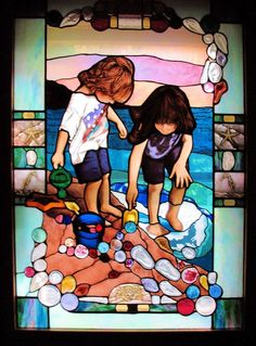Beach Glass Window by Sherry Yost on ARTwanted--stained glass