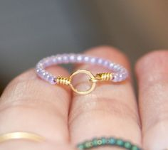 Stackable Thin Ring - Purple Beaded, Circle 14k Gold Filled Wire Wrapped Thin Ring, Beaded Ring, Gift Women, Gifts For Her, Handmade by BirchBarkDesign on Etsy