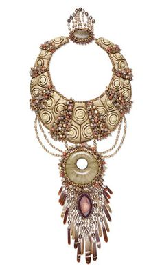 Bib-Style Necklace with Carved Gourd Focals, Shell Beads, Gemstone Beads and Seed Beads - Fire Mountain Gems and Beads