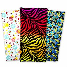 Fun n' vibrant summer must-haves: bold and critter print beach towels!  A perfect companion for a trip to the beach, pool or outdoor picnic. Easy care machine wash, soft cotton.    $5