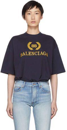 Balenciaga Navy BB Crown Logo T-Shirt