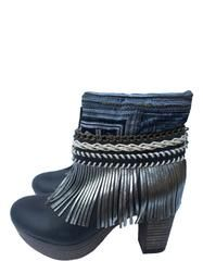 Boho Custom Made High Heel Boots - Black - Size 40
