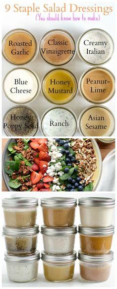 9 homemade salad dressing recipes you should know how to make! Healthy Salad Dressings, Homemade Salad Dressings, Salad Dressing Healthy, Homemade Healthy Salad Dressing, Simple Salad Recipes, Green Salad Dressing, Garlic Salad Dressings, Food Salad, Simple Dressing Recipe