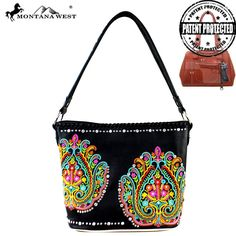 MW363G-916 Montana West Embroidered Collection Concealed Handbag-Black