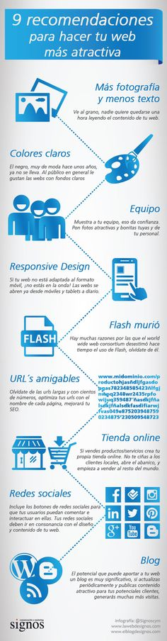 9 recomendaciones para hacer tu web más atractiva Fuente: @Signoscym #infografia #infographic #marketing Business Marketing, Internet Marketing, Online Marketing, Social Media Marketing, Online Business, Inbound Marketing, Marketing Digital, Web Responsive, Web Design
