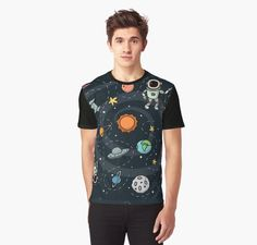 Outer Space Planetary Illustration | RedBubble Black Graphic T-Shirt | All Sizes Available for Men at @redbubble @RedHillStudios