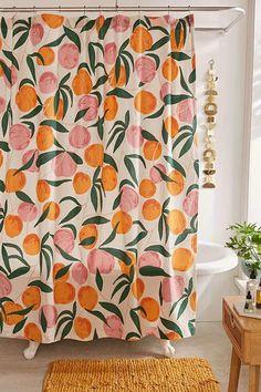 Home Interior Hallway peach shower curtain Peach Shower Curtain, Cute Shower Curtains, Colorful Shower Curtain, Bathroom Curtains, Colorful Curtains, Bohemian Shower Curtain, Retro Shower Curtain, Patterned Curtains, Layered Curtains