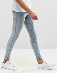 Dr Denim Kissy Extreme Super Skinny Jeans Light Blue Crush at ASOS. Tight Jeans Men, Superenge Jeans, Skinny Guys, Super Skinny Jeans, Young Boys Fashion, Fashion Men, Fashion Online, Spray On Jeans, Gym Outfit Men