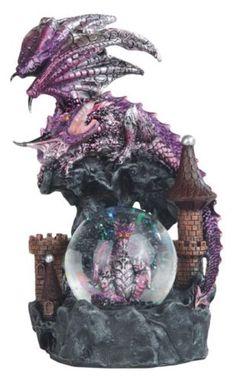 8-034-Purple-Dragon-amp-Hatching-Egg-Snow-Globe-Fantasy-Decor-Statue-Figure-Figurine