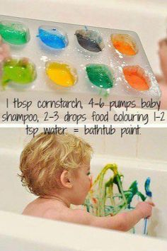 1 tbsp cornstarch, 4-6 pumps baby shampoo, 2-3 drops food coloring, 1-2 tsp water = bathtub paint  :)