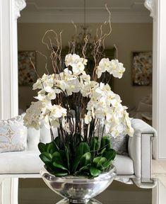 Faux Plants, Indoor Plants, Orchid Salon, Centerpieces, Table Decorations, Floral Arrangements, Orchids, Bouquet, Vase