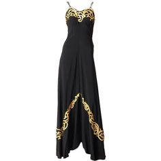 1940's Evening Gown ❤ liked on Polyvore featuring dresses, gowns, leather dress, spaghetti strap dress, spaghetti strap slip dress, bias cut slip dress and applique dress
