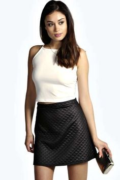 Helena Quilted PU A Line Mini Skirt at boohoo.com
