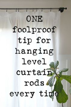 Use this one curtain hanging hack, and you'll never dread putting up curtains again. How to hang perfectly level curtain rods each and every time. curtain rods Curtain Hanging Hack - How to Hang a Perfectly Level Rod - The Crazy Craft Lady Cheap Curtains, Drop Cloth Curtains, Long Curtains, Blackout Curtains, Drapes Curtains, How To Hang Curtains, Bedroom Curtains, Valance, Farmhouse Curtain Rods