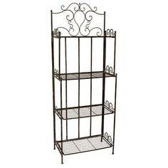 "4-Tier Bookshelf Bakers Rack Plant Stand 63""H by FantasticDecor. $132.99. Buy multiple items, save on shipping. Add dramatic and functional shelving to your garden, home, or work space with the Metal Bakers Rack Plant Stand. Ornate scrolls on the top and side of the stand bring a timeless appeal to the item. Four shelves on the unit create storage or display room for several potted plants and garden ornaments. Made of wrought iron. Measures 24""x13""x63""H."