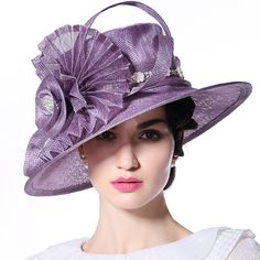 b183d28f June's Young Women Ladies Hats for Church Hat Wedding Party Show Fashion  Sinamay Hat(Purple)