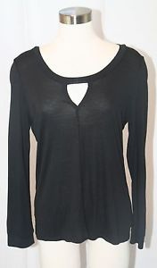 Lanston Stretch Modal Cut-out Long Sleeve T Black,Heather,Blue XS,S,M,L $105