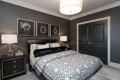Grey walls, white trim & black doors