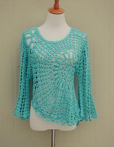 elegant crochet boho women  blouse with 3/4 sleeves hi low top