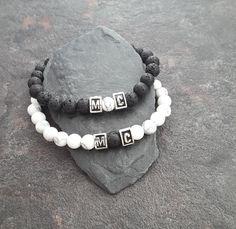 Distance Relationship bracelets, Couple bracelet, Gemstone bracelets, Lava bracelet, Black White bracelets, Yin Yang, initials bracelets by PawlowskiCreations on Etsy Couple Bracelets, Cord Bracelets, Gemstone Bracelets, Bracelets For Men, Washer Bracelet, Lava Bracelet, Initial Bracelet, Bracelets With Meaning, Yin Yang