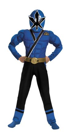 Description #31576 Join the Power Ranger Team as the Samurai Blue Ranger. The Samurai Blue Power Ranger Costume showcases a full body jumpsuit with a muscle padded blue torso and arms with black pants