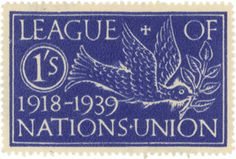 Poster Stamp designed by Eric Gill (1882-1940), British typeface designer, sculptor, stonecutter, and printmaker.  League of Nations Twentieth Anniversary Design --- part of a wonderful and extensive collection of Postage Stamps by Type Designers,  from The Offices of Kat Ran Press (and well worth checking out)