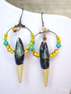 Spike hoops Stalactite earrings Rod jewelry Drop by CocoFlowerShop