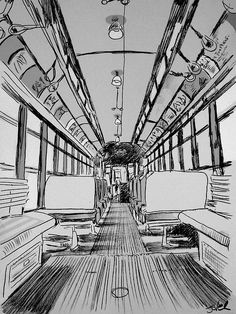 Frontale / 1 pt pers vintage tram interior study by Loui Jover 1 Point Perspective, Perspective Drawing Lessons, Perspective Sketch, How To Draw Perspective, Perspective Artists, Architecture Drawing Art, Watercolor Architecture, Classical Architecture, Interior Architecture