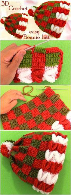 Crochet Christmas Beanie Hat - No English pattern Crochet Christmas Hats, Christmas Beanie, 3d Christmas, Crochet Winter, Holiday Crochet, Crochet Baby Hats, Crochet Beanie, Knitted Hats, Crochet Crafts