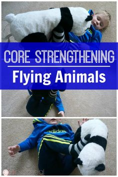 Strength Through Play - Flying Animals Core strengthening for kids game flying animals is so much fun. It makes core strengthening for kids easy and through play! A great kids activity! Great for gross motor skills! Core strengthening for kids game flyin Sports Activities For Kids, Motor Skills Activities, Movement Activities, Gross Motor Skills, Therapy Activities, Music Activities, Physical Activities For Toddlers, Summer Activities, Family Activities
