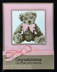 Have you wondered how to stamp the Baby Bear? The 3 step stamping creates amazing depth. Baby Girl Cards, New Baby Cards, Bear Card, Handmade Birthday Cards, Handmade Cards, Baby Shower Cards, Animal Cards, Card Kit, Cool Cards