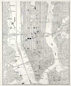 1942 Vintage City Map of Lower Manhattan, New York City by Bananastrudel