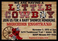 *Print Your Own* Little Cowboy Western Boy Baby Shower Invitation