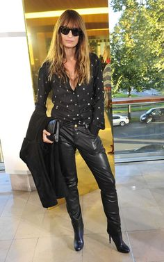 Caroline de Maigret...the cut of these leather pants. not too tight