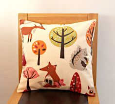 Pillow Woodland creatures fox squirrel butterfly tree pink brown green orange design One 18 inch cushion shams UK designer fabric