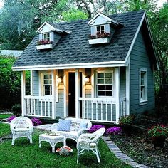 What a cute crafting/prayer/tea/reading/napping house in the back yard! Just dreaming out loud!