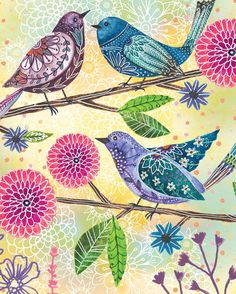 Floral Flight-Birds in Cool Colors art by Lori Siebert This listing is for a print of my original artwork. The image is printed on high Bird Illustration, Illustrations, Bird Drawings, Drawing Birds, Watercolor Bird, Bird Art, Doodle Art, Textile Art, Original Artwork