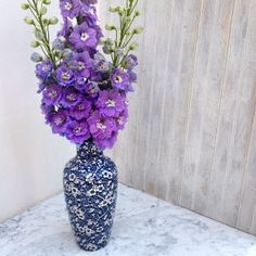 Purple Delphinium flowers in vintage blue & white floral vase. Styling and photography © Ingrid Henningsson for Of Spring and Summer.