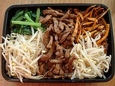 Sesame beef and vegetable bento