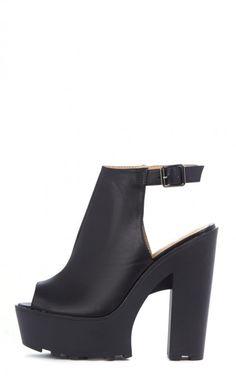 Jessica Black Leather Strap Platform Heels