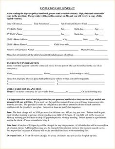 Home Daycare Contract Handbook  Childcare Ideas
